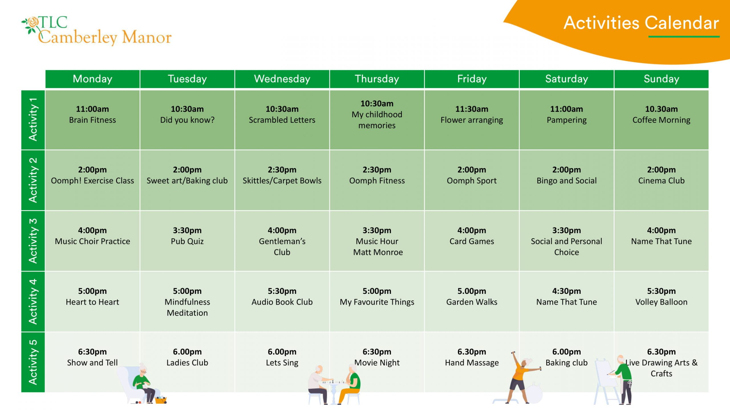 Camberley sample activities calendar