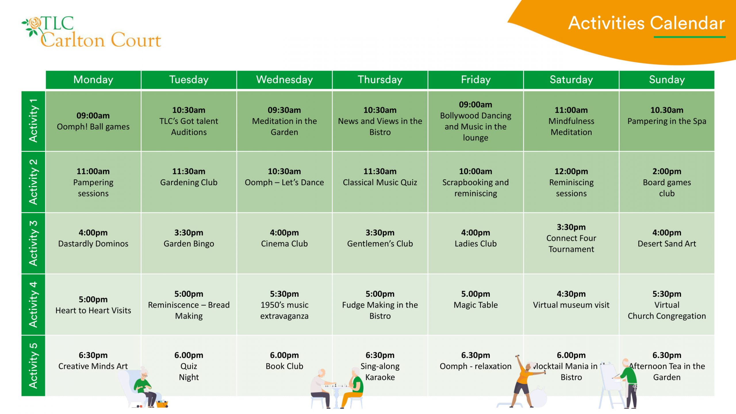 Carlton activities calendar