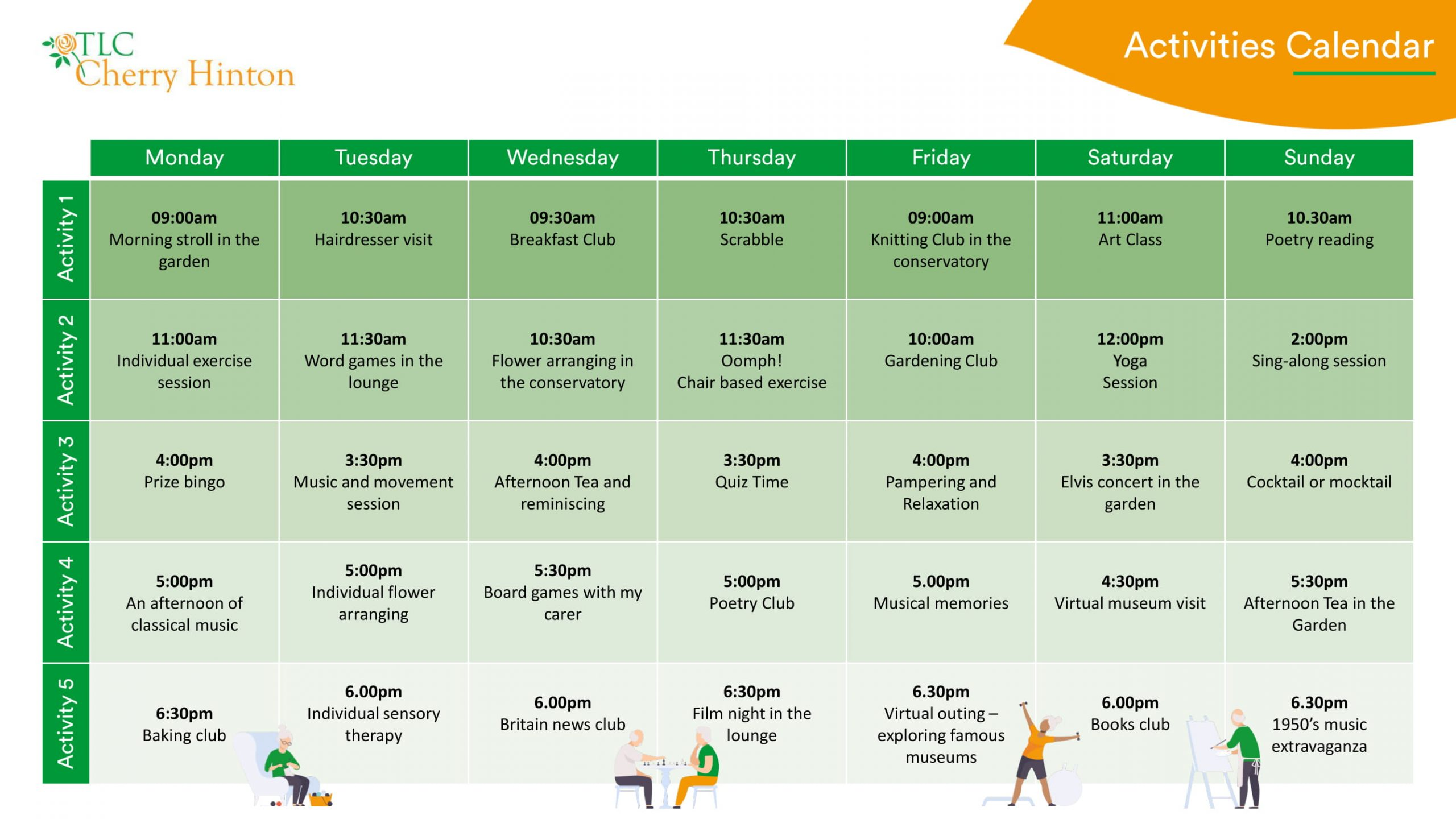 Cherry activities calendar